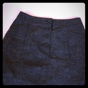 H&M Tweed High Waisted Skirt Charcoal Gray